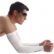 cyclist wearing white arm warmers