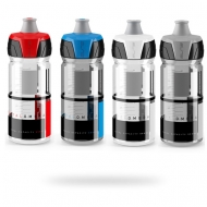 Red, blue, white, grey crystal water bottle