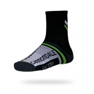 Black and grey with green stripe sock