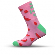 Pink/ green sock with watermelon pictures