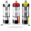 White, red, yellow crystal clear water bottle