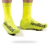 Yellow with black writing shoe cover