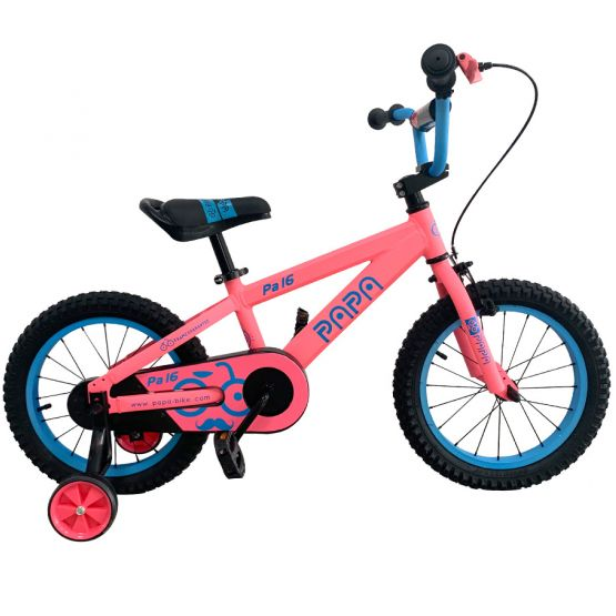 PAPA Alu 16 Inch light red bicycle with training wheels
